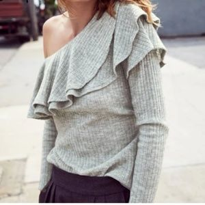 Off the Shoulder Ruffle Long Sleeve Top | Gray